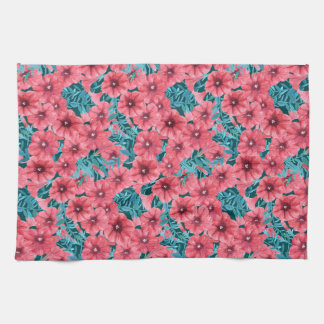 Red watercolor petunia flower pattern hand towels