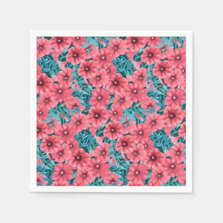 Red watercolor petunia flower pattern paper napkin