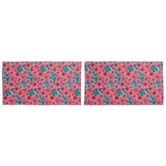 Red watercolor petunia flower pattern pillowcase