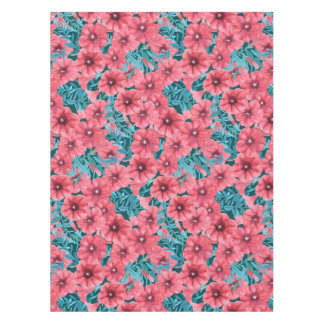 Red watercolor petunia flower pattern tablecloth