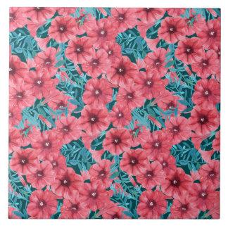 Red watercolor petunia flower pattern tile