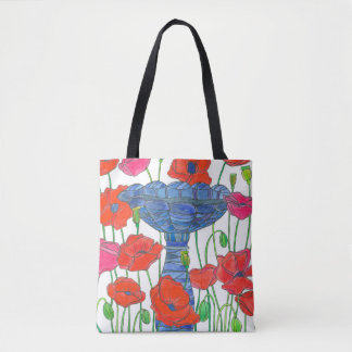 Red Watercolor Poppies Tote Bag