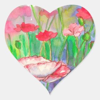 Red Watercolor Poppy Flowers Heart Sticker