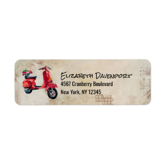 Red Watercolor Scooter With Pretty Flowers Return Address Label