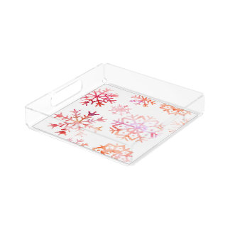 Red Watercolor Snowflakes Acrylic Tray