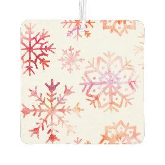 Red Watercolor Snowflakes Air Freshener
