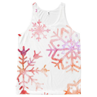 Red Watercolor Snowflakes All-Over-Print Tank Top