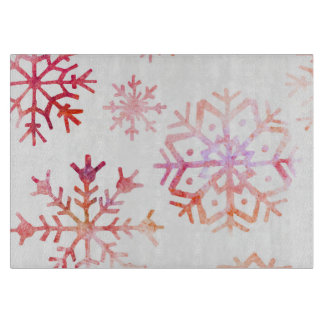 Red Watercolor Snowflakes Boards