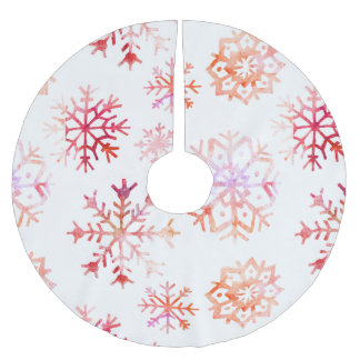 Red Watercolor Snowflakes Brushed Polyester Tree Skirt