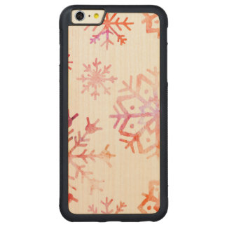 Red Watercolor Snowflakes Carved Maple iPhone 6 Plus Bumper Case