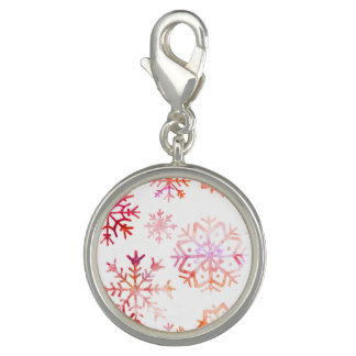 Red Watercolor Snowflakes Charm