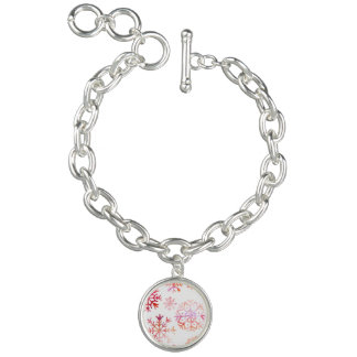 Red Watercolor Snowflakes Charm Bracelet