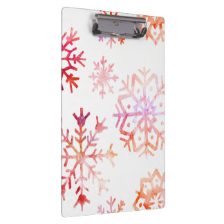 Red Watercolor Snowflakes Clipboard