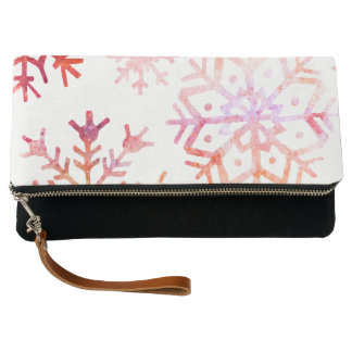 Red Watercolor Snowflakes Clutch