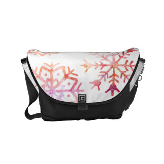 Red Watercolor Snowflakes Courier Bag