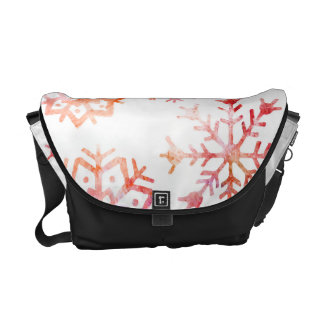 Red Watercolor Snowflakes Courier Bags