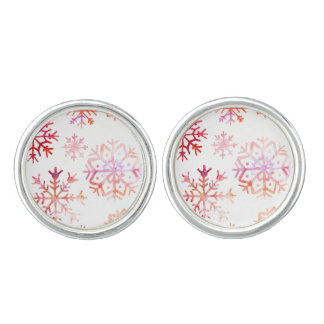 Red Watercolor Snowflakes Cufflinks