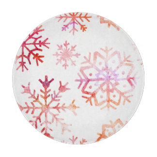 Red Watercolor Snowflakes Cutting Board