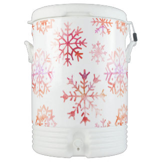 Red Watercolor Snowflakes Drinks Cooler