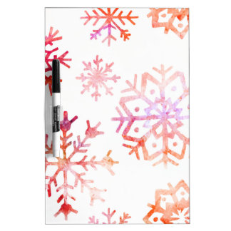 Red Watercolor Snowflakes Dry Erase Board