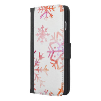 Red Watercolor Snowflakes iPhone 6/6s Plus Wallet Case