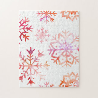 Red Watercolor Snowflakes Jigsaw Puzzle