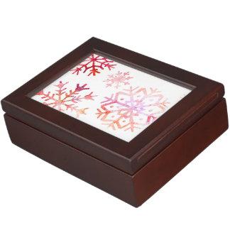 Red Watercolor Snowflakes Keepsake Box