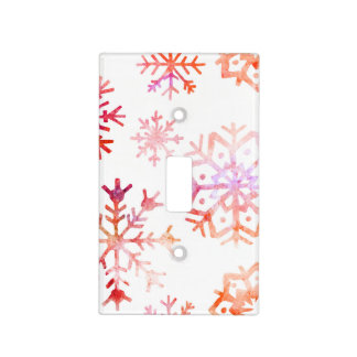 Red Watercolor Snowflakes Light Switch Cover