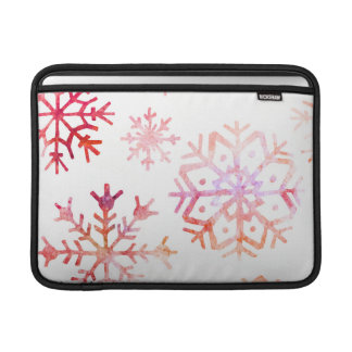 Red Watercolor Snowflakes MacBook Sleeve