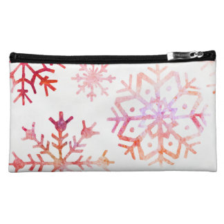 Red Watercolor Snowflakes Makeup Bag