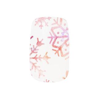 Red Watercolor Snowflakes Minx Nail Art