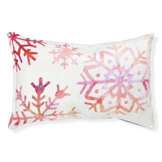 Red Watercolor Snowflakes Pet Bed