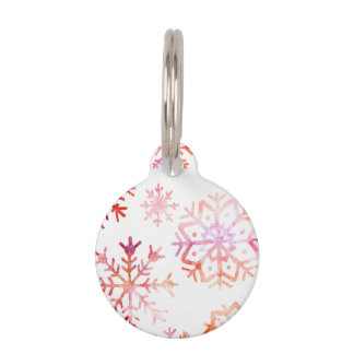Red Watercolor Snowflakes Pet ID Tag