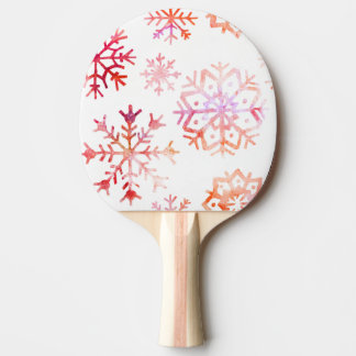 Red Watercolor Snowflakes Ping Pong Paddle