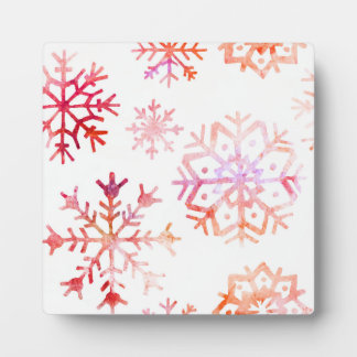 Red Watercolor Snowflakes Plaque