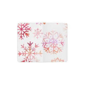 Red Watercolor Snowflakes Pocket Moleskine Notebook