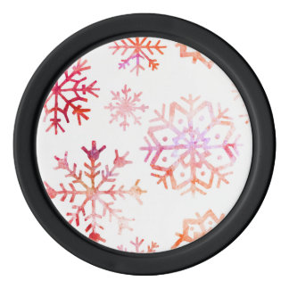 Red Watercolor Snowflakes Poker Chips
