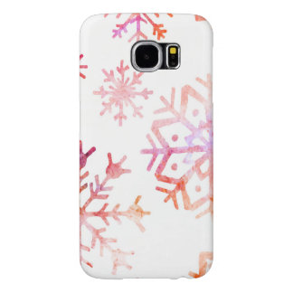 Red Watercolor Snowflakes Samsung Galaxy S6 Cases