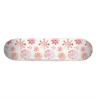 Red Watercolor Snowflakes Skateboard Deck