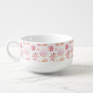 Red Watercolor Snowflakes Soup Mug