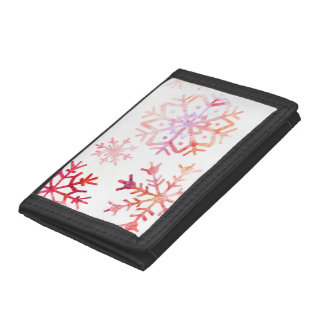 Red Watercolor Snowflakes Tri-fold Wallets