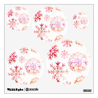 Red Watercolor Snowflakes Wall Decal