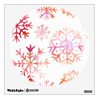 Red Watercolor Snowflakes Wall Sticker