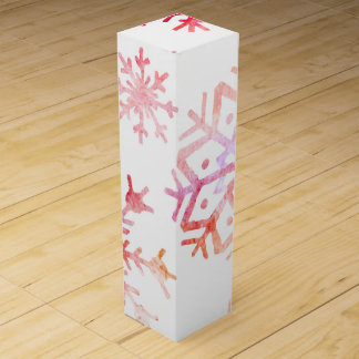 Red Watercolor Snowflakes Wine Box