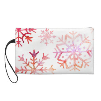 Red Watercolor Snowflakes Wristlet