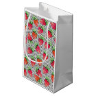 Red Watercolor Strawberries on Black & White Dots Small Gift Bag