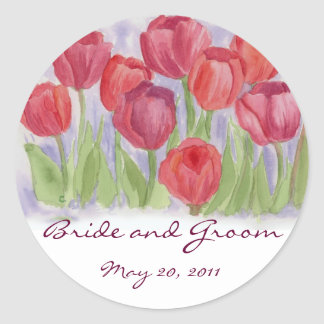 Red Watercolor Tulips Wedding Date Bride Groom Classic Round Sticker