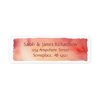 Red Watercolor Wash Artistic Painting Label