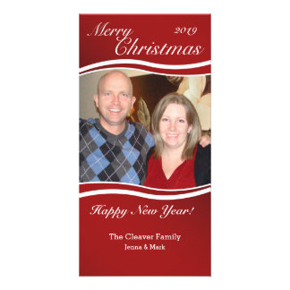 Red Wave Christmas Vertical Photo Card