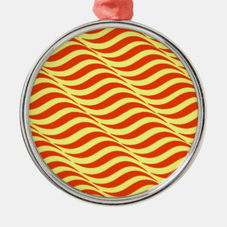Red Waves Yellow Sky Metal Ornament